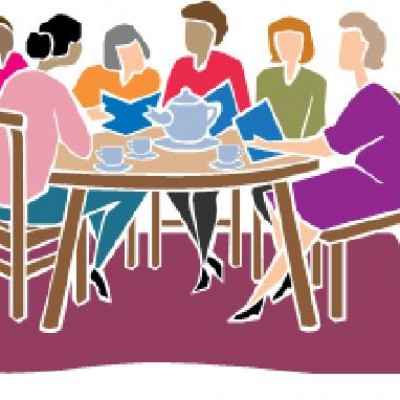 Clipart of women sitting around a table with books.